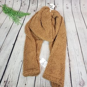 Sonoma Camel Brown Oblong Faux Sherpa Scarf